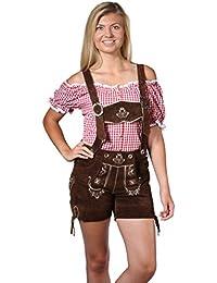 Damen Trachten Lederhose Damenhose mit Trägern aus feinstem Veloursleder in dunkelbraun, Bayrische Trachtenlederhose für das Oktoberfest Größe 34, 36, 38, 40, 42, 44, 46