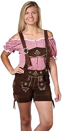 Damen Trachten Lederhose Damenhose mit Traegern aus feinstem Veloursleder in dunkelbraun, Bayrische Trachtenlederhose fuer das Oktoberfest, Größe 42