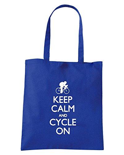 T-Shirtshock - Borsa Shopping SP0091 Keep Calm and Cycle on Maglietta Blu Royal