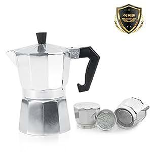Cafetière Italienne En Aluminium 3/6/9/12 Tasses Pot café Moka Cuisinière Bureau Domicile pour Espresso(600ML 12tasses)