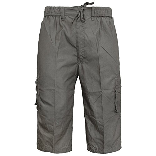 MENS ELASTICATED WAIST SUMMER COTTON SWIM BEACH CARGO COMBAT 3/4LONG SHORTS PANT[Charcoal Grey,XL]