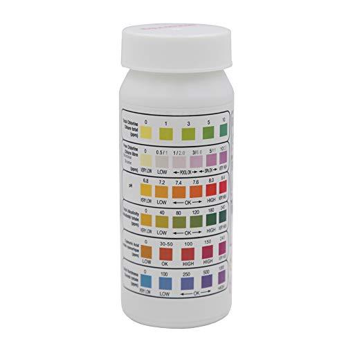 Bclaer72 Lot de 50 bandelettes de Test de Chlore 6 en 1 pour Piscine, Spa, Chlore, pH alcalinité, dureté de l'eau, Acide Brome, alcalinité, PH, Piscine, Spa, Chlore, cyanurique