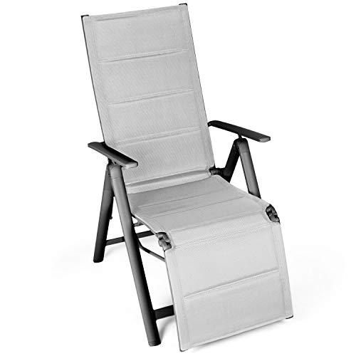 Vanage - Transat de jardin - Chaise pliante avec dossier haut rembourré et repose-pieds - Fauteuil adapté pour le jardin, la terrasse et le balcon - Ultra confortable et Design intemporel