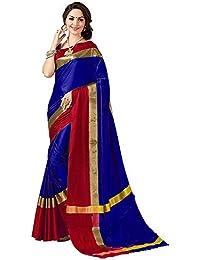Kiranz Web Store Women's Cotton Saree With Blouse Piece (Blue & Red Color)