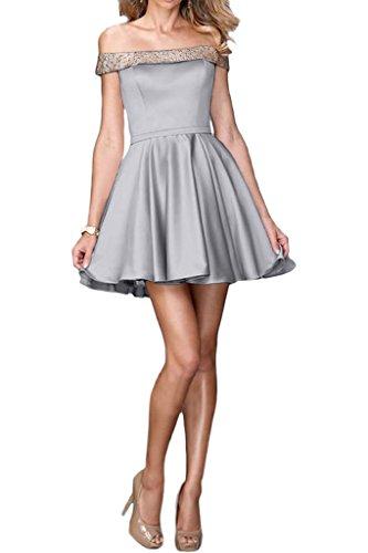 ivyd ressing robe courte ligne fabuleuses U de la découpe A mommé Prom Party robe robe du soir Silber