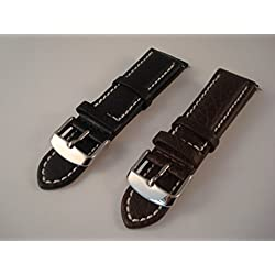 Wristwatch Strap - Milan - Italian Calf Leather - For Prestige Watches - Black Or Brown - White Stitching