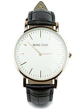 Rose Time Unisex Leder Armbanduhr Rose Gold Schwarz