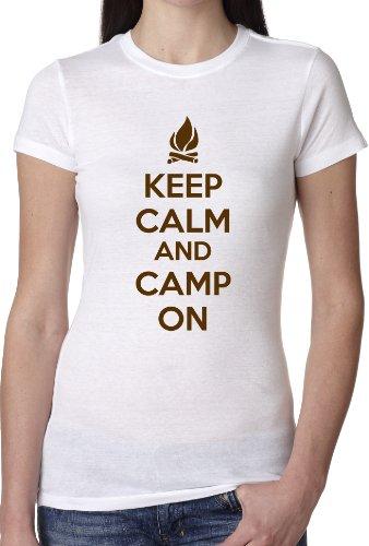 Crazy Dog Tshirts Women's Keep Calm and Camp On T Shirt Funny Camping Shirt For Women (white) XXL - damen - XXL (Mädchen-pfadfinder-verdienst-abzeichen)