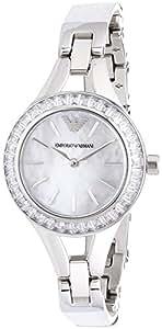 Emporio Armani - AR7353 - Montre Femme - Quartz Analogique - Bracelet Cuir Blanc