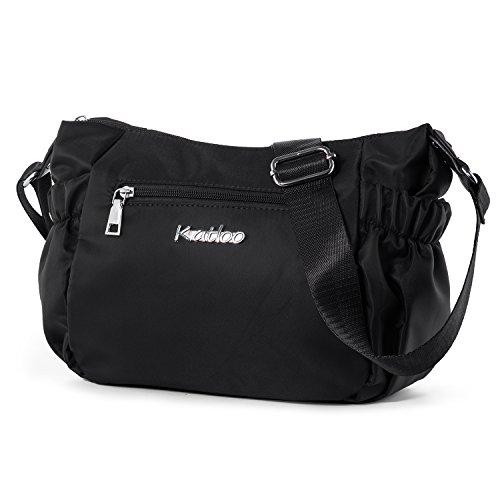 Katloo Nylon Damentasche Damen Leichte Schultertasche Umhängetasche Handtasche Kleine Reisetasche für Frauen mit Viele Zip Fächer für den Alltag - Schwarz (Gurt-reißverschluss-frauen-handtaschen)