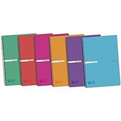 Enri B00SHL2N9U - Cuadernos Espiral, Multicolor, Pack de 5