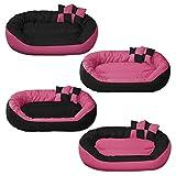 BedDog Hundebett Sunny 4in1 / großes Hundekörbchen aus Cordura/waschbares Hundebett mit Rand/Hundekissen oval-rund/für Drinnen und draußen/XL / Candy/pink-schwarz