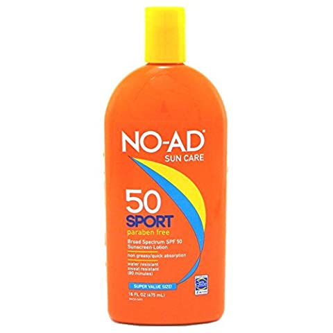 NO-AD Sport Active Sunscreen Lotion, SPF 50 16 oz by