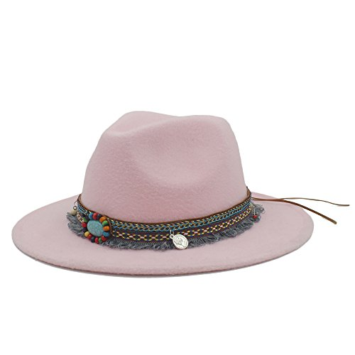 LIXUE Mode Wolle Frauen Männer Outback Fedora Hut Mit Quaste Böhmen Band Für Elegante Dame Jazz Kirche Paten Sombrero Caps (Farbe : Rosa, Größe : 57-59cm)