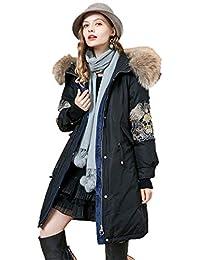 Chaquetas Mujer Ropa de Abrigo Mujer Larga Invierno Nuevo 90% Pato Blanco  Bordado Cuello de Piel Grande Delgada hacia Abajo (Color… e2a42695dd6b