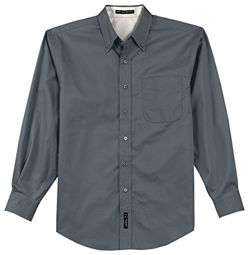 Port Authority Herren Long Sleeve Easy Care Shirt Steel Grey/ Light Stone
