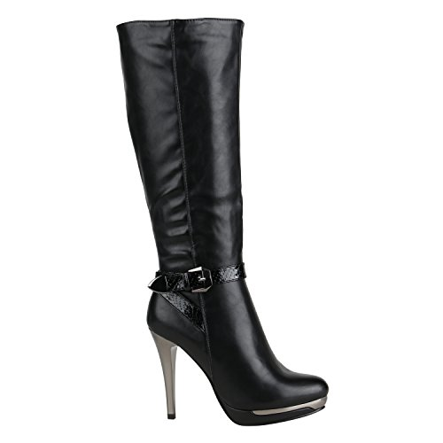 Stiefelparadies Elegante Damen Stiefel High Heels Boots Stilettos Gefüttert 152615 Schwarz Lack 37 Flandell