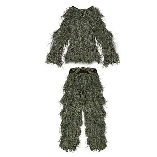 dschungel kleidung Pellor Jagd Polyester Kinder 3D Tarnanzug Ghillie Anzug Dschungel Woodland Camouflage Kleidung Taille Verstellbar (Camo)