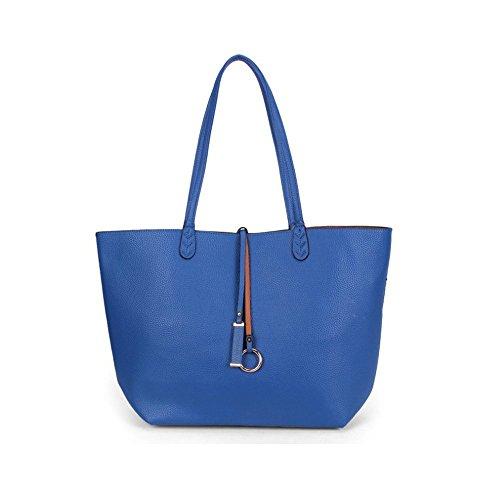 YAAGLE Damen Handtasche doppelseitige material Shopper modern Schultertaschehenkeltasche mit praktisch innentasche blau