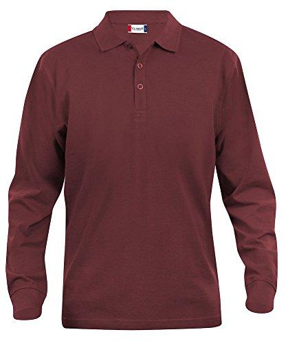 Clique Clothing polo da uomo maniche lunghe cotone taglio classico peso medio Burgundy X Large