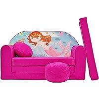 Preisvergleich für PRO COSMO H4Kids Schlafsofa mit Puff/Fußbank/Kissen, Stoff, pink, 168x 98x 60cm