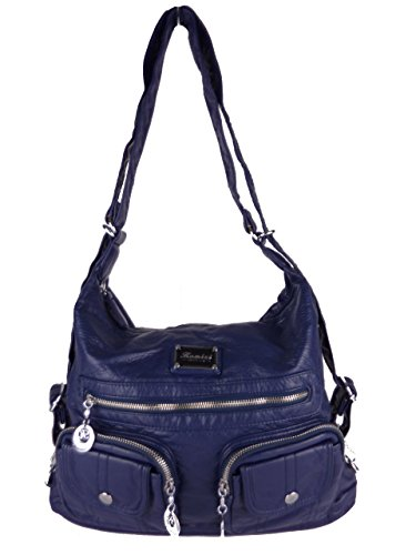 JODY 89297, 2in1 Damen Rucksackhandtasche, Handtasche und Rucksack, 37x28x15cm (grau taupe) blau
