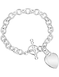 Tuscany Silver Sterling Silver Women's Heart T-Bar Bracelet of 19cm/7.5""