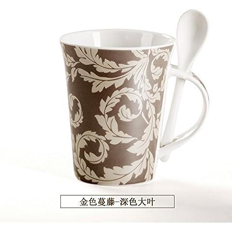 YX.LLA Il Golden vigne tazze di ceramica tazza personalizzata tazza di acqua Pattern con il (Personalizzata Cucchiaio Da Bambino)