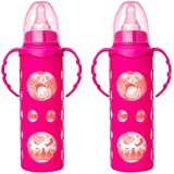 NAUGHTY KIDZ PREMIUM BOROSILICATE HANDY GLASS BOTTLE WITH ULTRASOFT LSR NIPPLE||SILICONE BOTTLE WARMER||EASY TO HOLD HANDLE||KEY TEETHER||HOOD RETAINING CAP AND SEALING DISC RING -250ML+250ML (PINK+PINK)