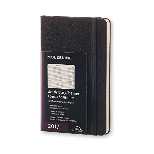 Moleskine Wochenkalender, Taschenkalender, 12 Monate 2017, Horizontal, Pocket, A6, Hard Cover, schwarz (Notebook-design Moleskine)