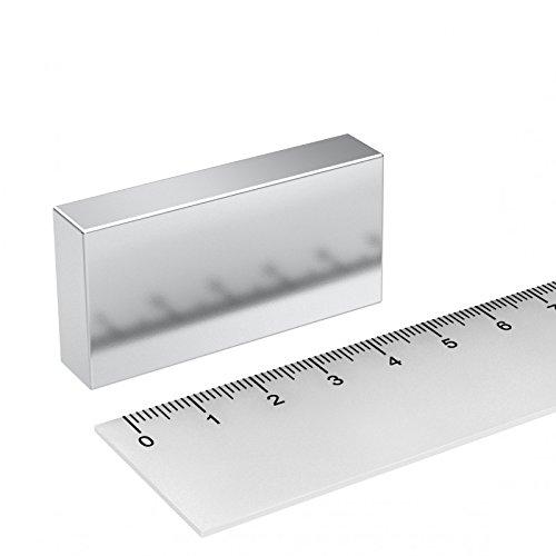 Neodym Quadermagnet 50 x 25 x 10 mm, Grade N45, vernickelt, starker Industriemagnet