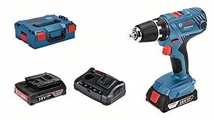 Bosch Professional - Taladro atornillador GSR 18V-21 (2 baterías de 2,0 Ah, 18V, par de giro máx.: 55 Nm , en maletín L-BOXX)