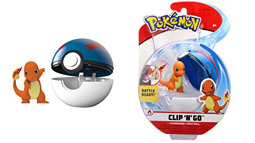 Lively Moments Pokemon - Pokeball Clip ´N´ GO für unterwegs Pokemonfigur Glumanda mit Superball