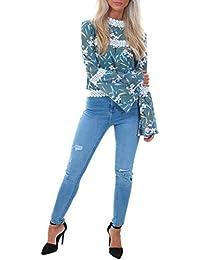 cd6762e3195 Cutie London Floral Print Top Lace Trim Blue