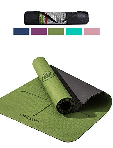YAWHO Yogamatte hochwertige TPE ist rutschfest ECO Freundlichen Material Das SGS Zertifiziert Maße: 183 cm X 66 cm Höhe 0.6 cm, Design Hilfslinien, licht, umweltfreundlich, langlebig (Green)