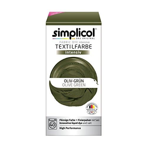 Simplicol Textilfarbe intensiv (18 Farben), Oliv-Grün 1814, Dunkelgrün: Einfaches Färben in der Waschmaschine, All-in-1 Komplettpackung