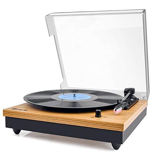 Vinyl Plattenspieler,Popsky Bluetooth tragbaren Vinyl Plattenspieler Turntable und Digital Encoder mit Lautsprecher Riemenantrieb Aux-In RCA 33/45/78 U/min - natürliches Holz - Vinyl Holz Plattenspieler