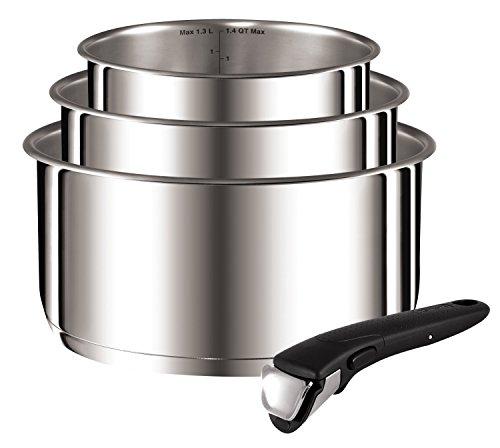 Tefal-L9419502-Ingenio Preference casseroles 16/18/20 cm + 1 Poignée INOX Non Revêtues Tous Feux Dont Induction (Contient 4 pièces)