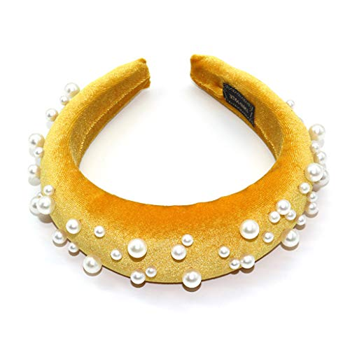 Lazder diadema para mujer, minimalista, gruesa, de terciopelo, color sólido, de pelo ancho, joyería de perlas de imitación irregulares para fiestas
