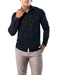 BUSIM Men's Long Sleeve Shirt Autumn Casual Chest Rules Openwork Sexy Slim Fashion Solid Color T-Shirt Tops Hot...