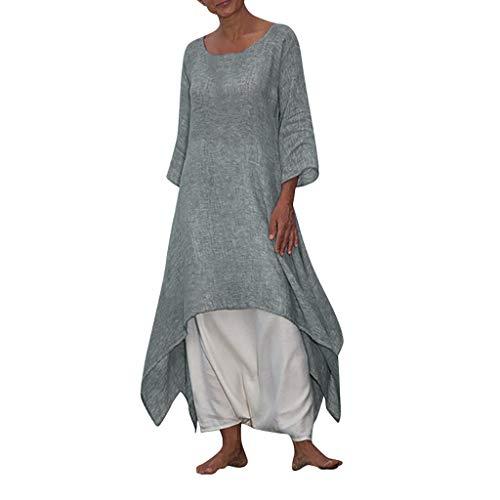 Floweworld Damen Vintage Kleider Baumwolle Leinen Kleid Boho Casual Langarm Strandkleider Plus Size Solide Sonnencreme Lange Kleider