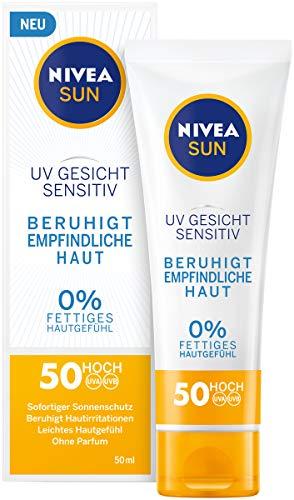 NIVEA SUN UV Gesicht Sensitiv Sonnencreme im 1er Pack (1 x 50 ml), Gesichtscreme mit LSF 50+ für sensible Haut, Sonnenschutz beruhigt Hautirritationen - Feste Creme