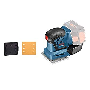 Bosch Professional GSS 18V-10 orbital, plato lijador 113 x 101 mm, microfiltro, sin batería, en caja, 18 V, Azul Marino