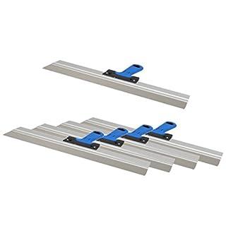 5er Set DEWEPRO® Edelstahl Fassadenspachtel - Dekorspachtel - Flächenspachtel - Flächenrakel mit Aluhalter und 2-Komponenten Softgriff- Größe: 600x50mm