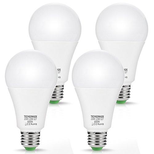 4 X 23W A65 E27 LED Lampen, TECHGOMADE Ersatz für 200W Glühlampen, 2500LM, Kaltweiß 6000K, 240°Abstrahlwinkel, Energie sparen LED-Glühbirne, Nicht Dimmbar, für Garage, Wohnzimmer, Hof, Küche -