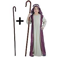 A2ZFD Kids Boys Shepherd Nativity Christmas Fancy Dress Costume + Brown Staff (3-4 years)