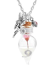 Mjartoria - Collar de mujer ajustable, colgante con una elegante flor dentro de una botella