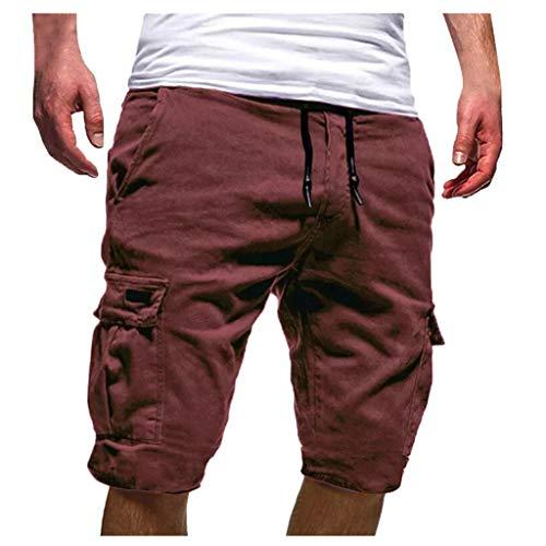 Cargo Shorts Herren Chino Kurze Hose Sommer Bermuda Sport Jogging Training Stretch Shorts Fitness Vintage Regular Fit Sweatpants Polyester Qmber Lässige einfarbige Gurttasche (L, Coffee) Grüne Cord Jumper