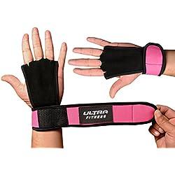 Ultra Fitness® - Protectora para manos, para crossfit, agarres de piel con soporte para muñecas, muñequera para levantamiento de pesas, mancuernas, con cierre de velcro, muñequera de velcro, 2 en 1, muñequera y protección de la palma de la mano, rosa