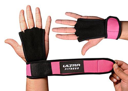 Ultra Fitness® - Protectora para manos, para Cross Training, agarres de piel con soporte para muñecas, muñequera para levantamiento de pesas, mancuernas, con cierre de velcro, muñequera de velcro, 2 en 1, muñequera y protección de la palma de la mano, rosa